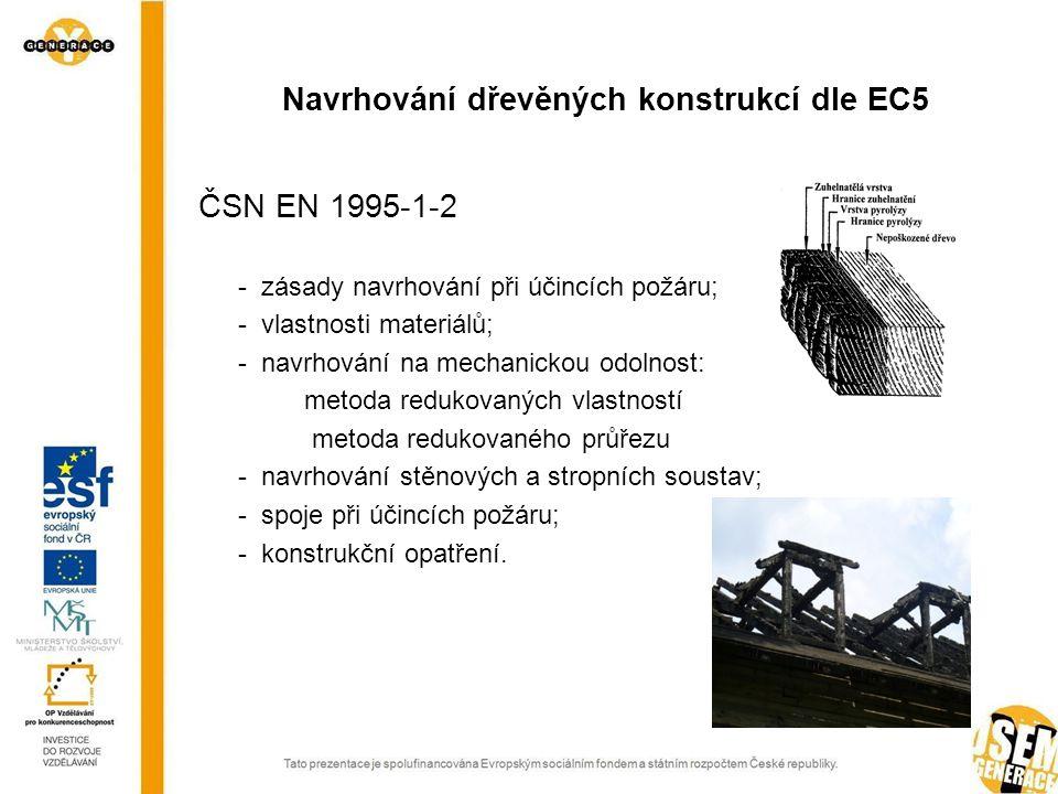 ČSN EN 1995-1-2 - zásady navrhování při účincích požáru; - vlastnosti materiálů; - navrhování na mechanickou odolnost: metoda redukovaných vlastností metoda redukovaného průřezu - navrhování stěnových a stropních soustav; - spoje při účincích požáru; - konstrukční opatření.
