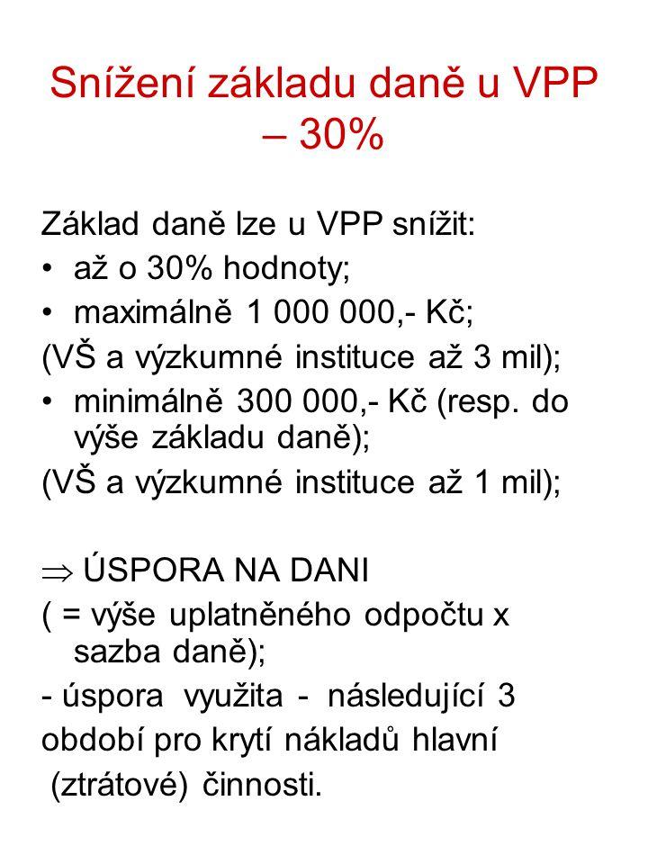 Snížení základu daně u VPP – 30% Základ daně lze u VPP snížit: až o 30% hodnoty; maximálně 1 000 000,- Kč; (VŠ a výzkumné instituce až 3 mil); minimálně 300 000,- Kč (resp.