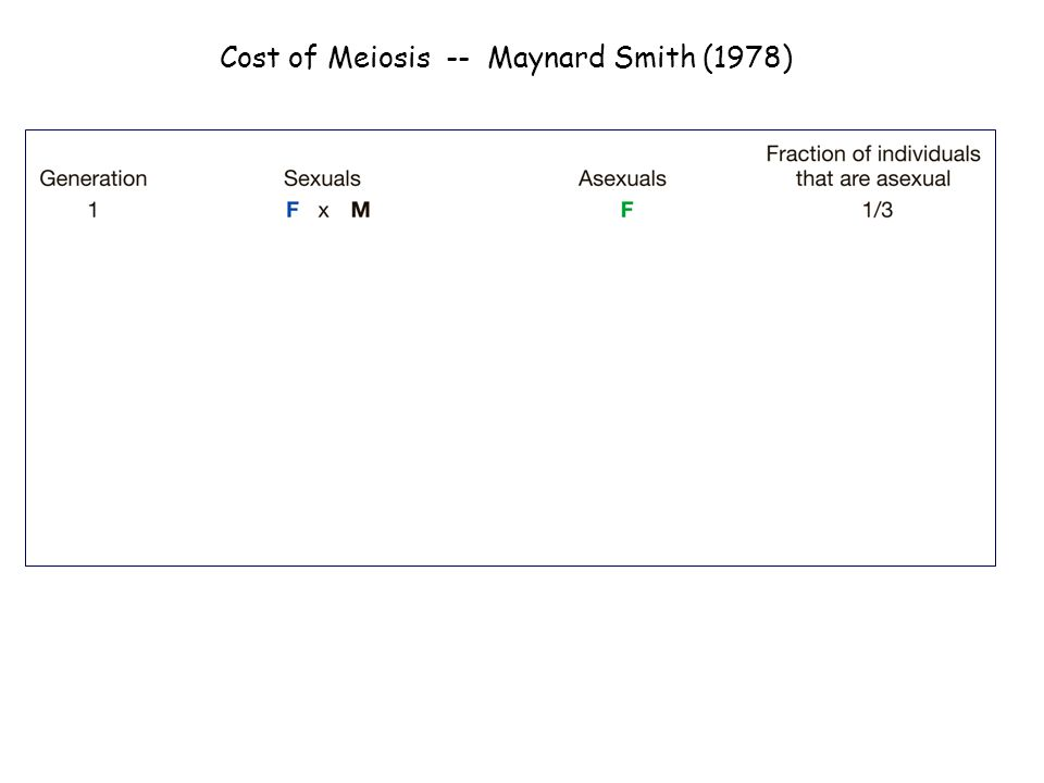 Cost of Meiosis -- Maynard Smith (1978)