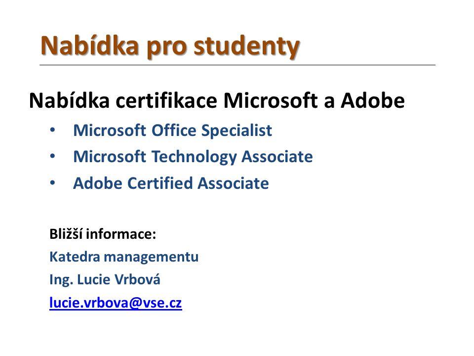 Nabídka certifikace Microsoft a Adobe Microsoft Office Specialist Microsoft Technology Associate Adobe Certified Associate Bližší informace: Katedra managementu Ing.