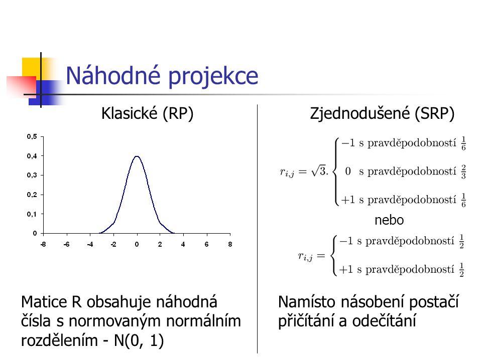 Náhodné projekce Klasické (RP) Matice R obsahuje náhodná čísla s normovaným normálním rozdělením - N(0, 1) Zjednodušené (SRP) nebo Namísto násobení postačí přičítání a odečítání