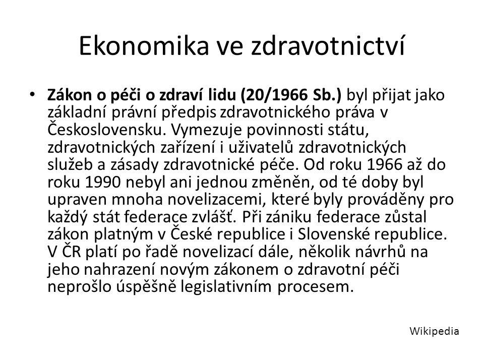 Ekonomika ve zdravotnictví Zákon o péči o zdraví lidu (20/1966 Sb.) byl přijat jako základní právní předpis zdravotnického práva v Československu.