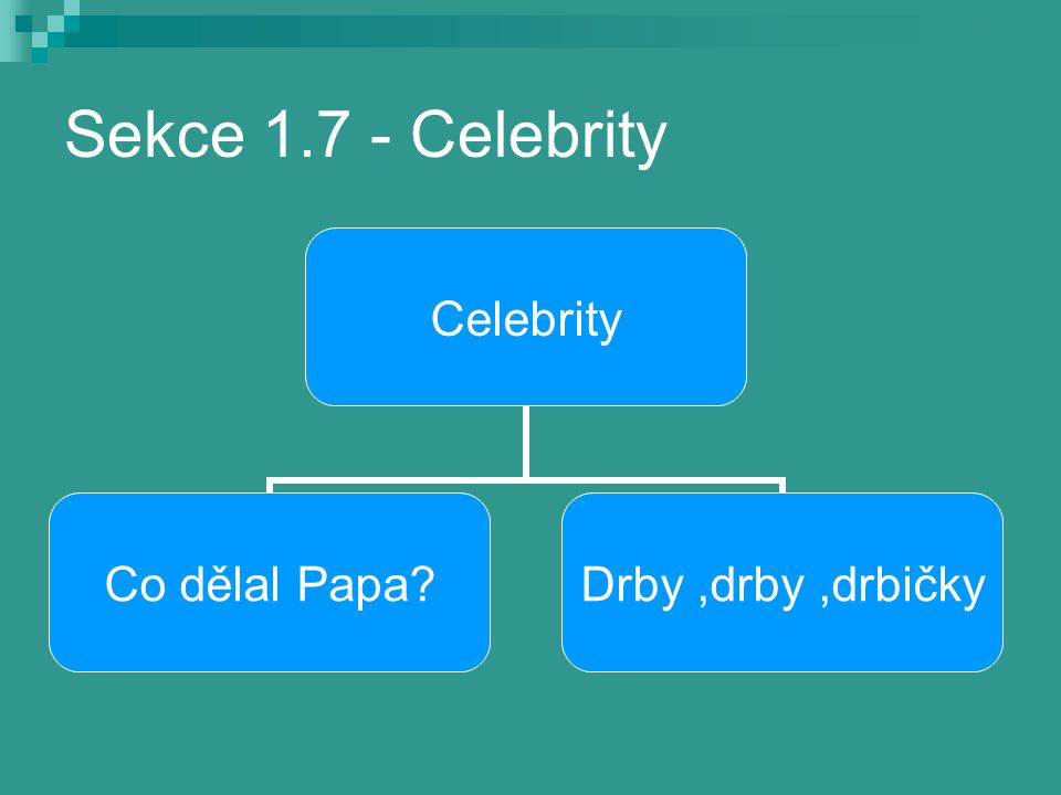 Sekce 1.7 - Celebrity Celebrity Co dělal Papa? Drby,drby,drbičky