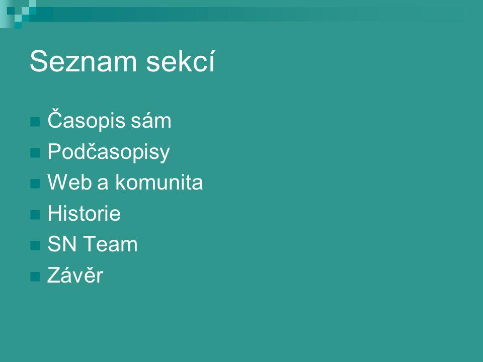 Seznam sekcí Časopis sám Podčasopisy Web a komunita Historie SN Team Závěr