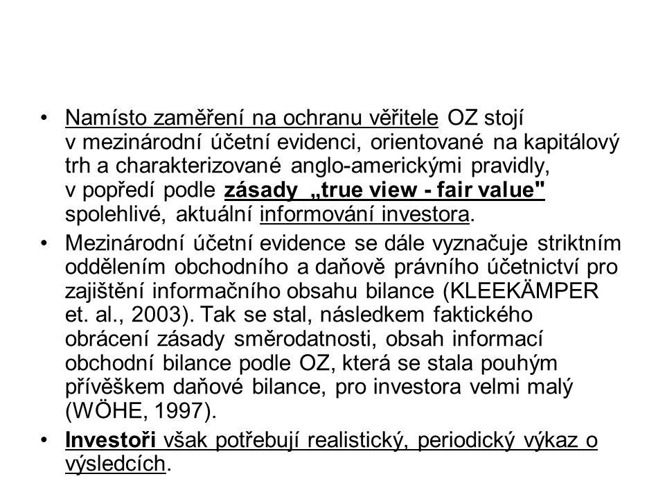 Namísto zaměření na ochranu věřitele OZ stojí v mezinárodní účetní evidenci, orientované na kapitálový trh a charakterizované anglo-americkými pravidl