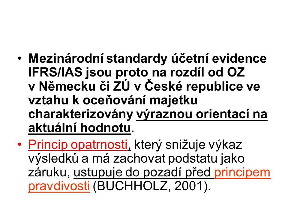 Mezinárodní standardy účetní evidence IFRS/IAS jsou proto na rozdíl od OZ v Německu či ZÚ v České republice ve vztahu k oceňování majetku charakterizo