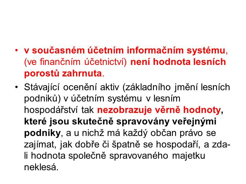 v současném účetním informačním systému, (ve finančním účetnictví) není hodnota lesních porostů zahrnuta. Stávající ocenění aktiv (základního jmění le