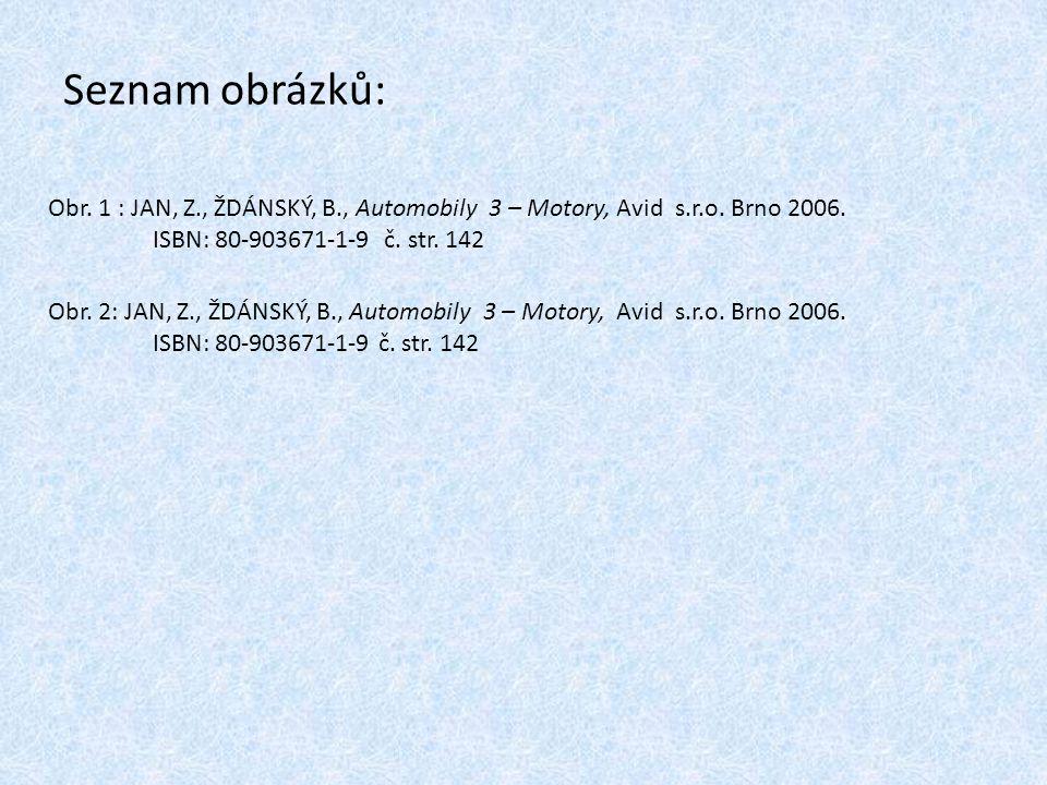 Seznam obrázků: Obr.1 : JAN, Z., ŽDÁNSKÝ, B., Automobily 3 – Motory, Avid s.r.o.