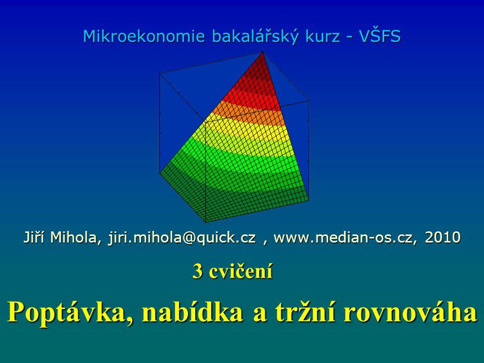 Poptávka, nabídka a tržní rovnováha Mikroekonomie bakalářský kurz - VŠFS Jiří Mihola, jiri.mihola@quick.cz, www.median-os.cz, 2010 3 cvičení