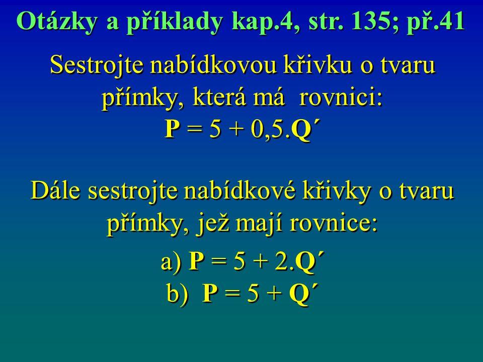 Sestrojte nabídkovou křivku o tvaru přímky, která má rovnici: P = 5 + 0,5.Q´ Dále sestrojte nabídkové křivky o tvaru přímky, jež mají rovnice: a) P = 5 + 2.Q´ b) P = 5 + Q´ Sestrojte nabídkovou křivku o tvaru přímky, která má rovnici: P = 5 + 0,5.Q´ Dále sestrojte nabídkové křivky o tvaru přímky, jež mají rovnice: a) P = 5 + 2.Q´ b) P = 5 + Q´ Otázky a příklady kap.4, str.