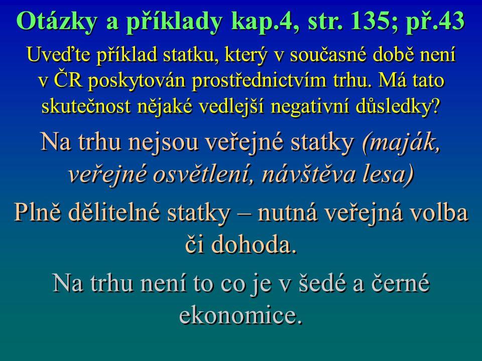 Uveďte příklad statku, který v současné době není v ČR poskytován prostřednictvím trhu.