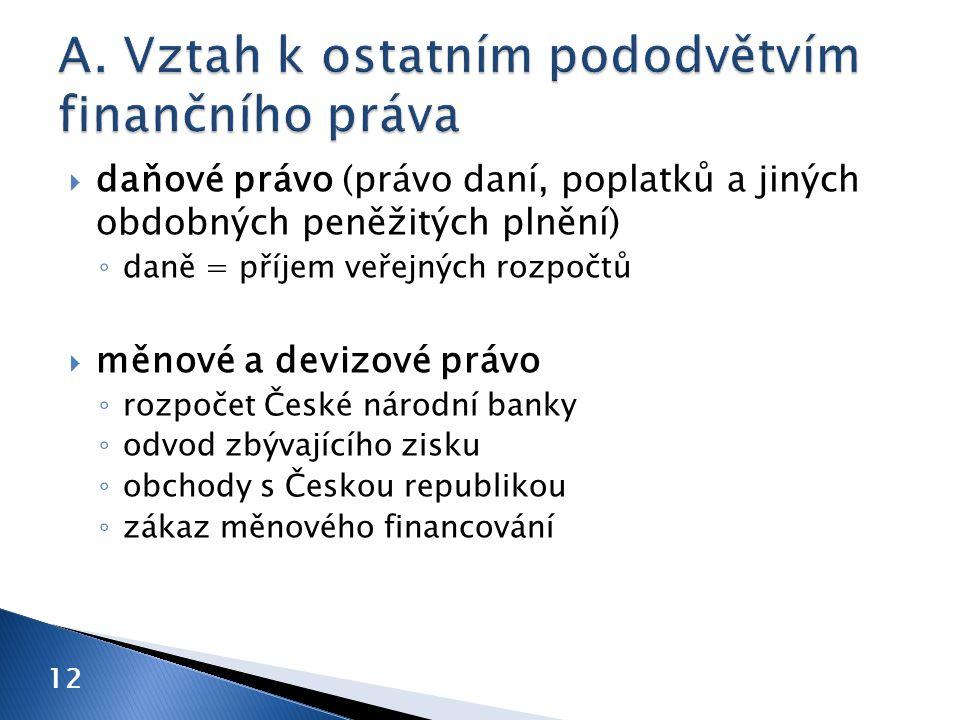  daňové právo (právo daní, poplatků a jiných obdobných peněžitých plnění) ◦ daně = příjem veřejných rozpočtů  měnové a devizové právo ◦ rozpočet České národní banky ◦ odvod zbývajícího zisku ◦ obchody s Českou republikou ◦ zákaz měnového financování 12