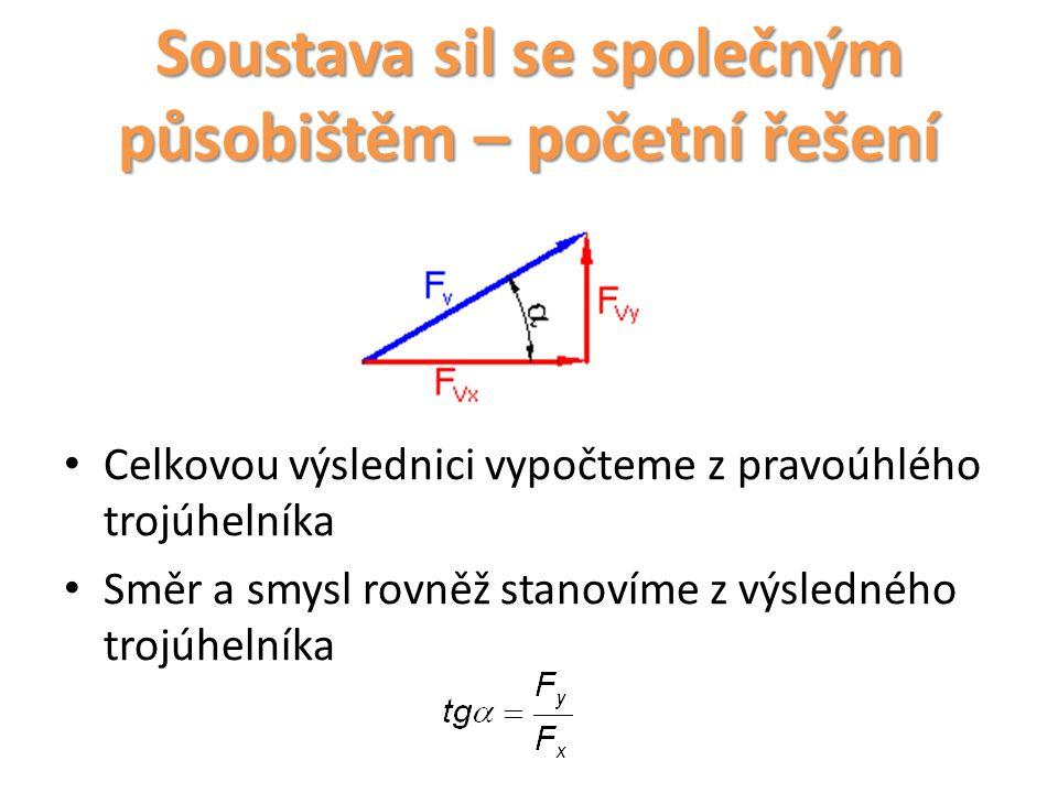 Soustava sil se společným působištěm – početní řešení Celkovou výslednici vypočteme z pravoúhlého trojúhelníka Směr a smysl rovněž stanovíme z výsledn