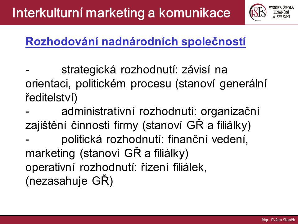 Mgr. Evžen Staněk Interkulturní marketing a komunikace Fungování nadnárodních společností - cíle: zisk + budoucí vývoj a růst ve 2 úrovních (mateřská