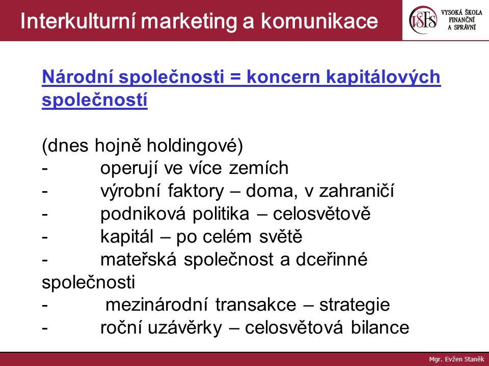 Mgr. Evžen Staněk Interkulturní marketing a komunikace Rozhodování nadnárodních společností - strategická rozhodnutí: závisí na orientaci, politickém