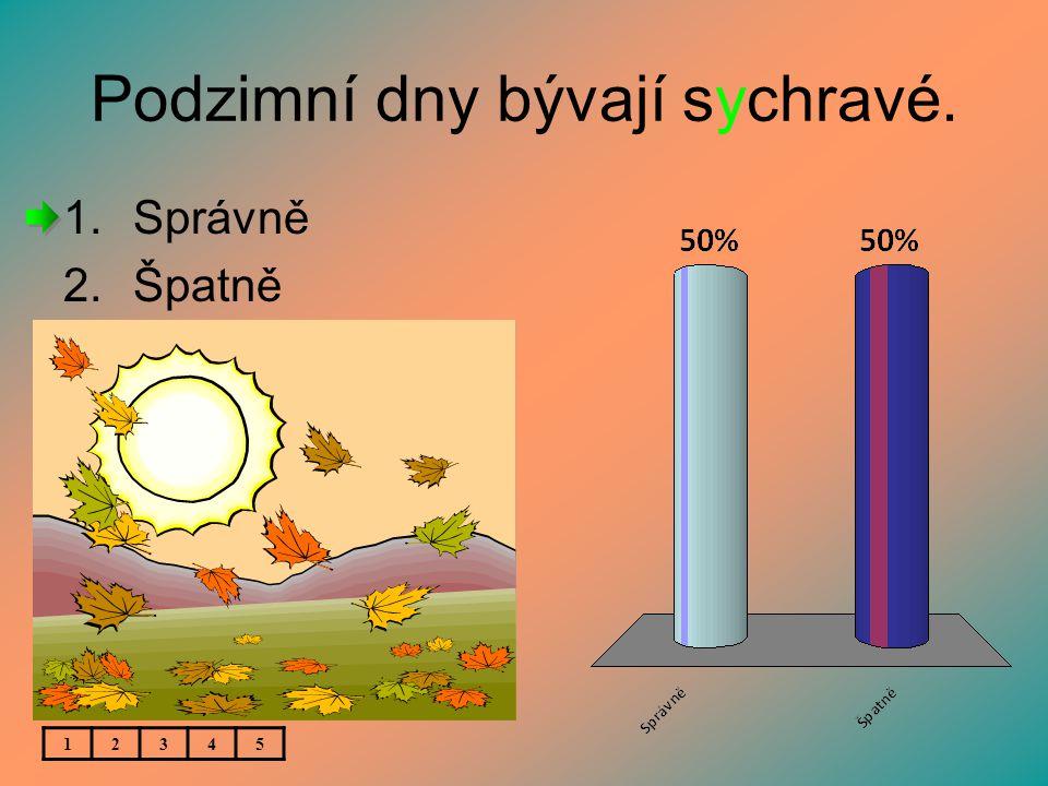 Podzimní dny bývají sychravé. 1.Správně 2.Špatně 12345