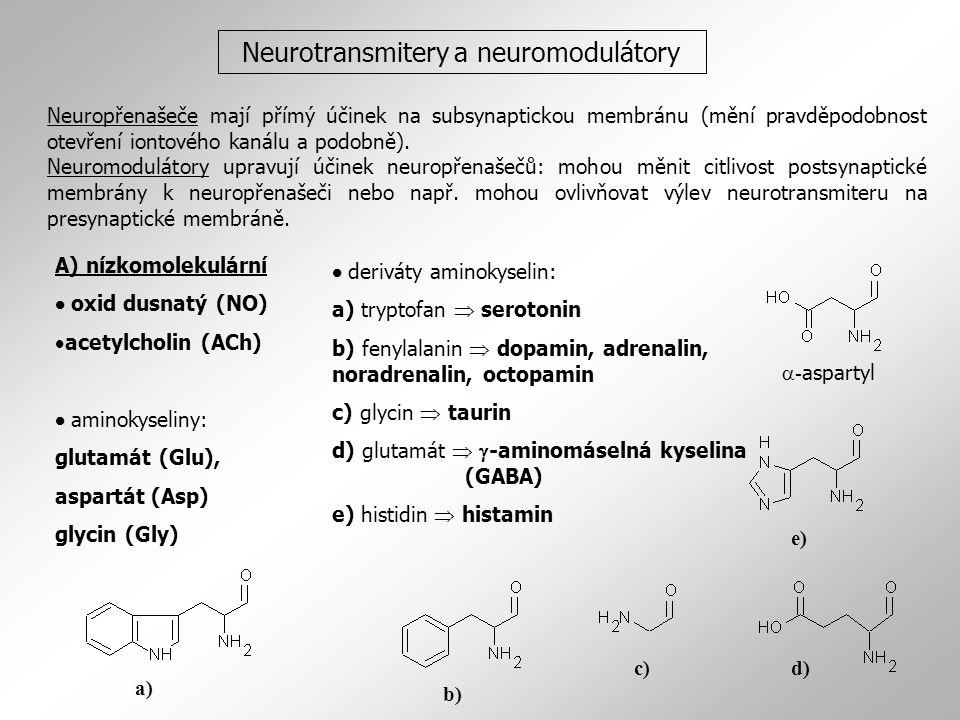 Neurotransmitery a neuromodulátory A) nízkomolekulární  oxid dusnatý (NO)  acetylcholin (ACh)  aminokyseliny: glutamát (Glu), aspartát (Asp) glycin (Gly)  deriváty aminokyselin: a) tryptofan  serotonin b) fenylalanin  dopamin, adrenalin, noradrenalin, octopamin c) glycin  taurin d) glutamát   -aminomáselná kyselina (GABA) e) histidin  histamin b) a) c)d) e)  - aspartyl Neuropřenašeče mají přímý účinek na subsynaptickou membránu (mění pravděpodobnost otevření iontového kanálu a podobně).