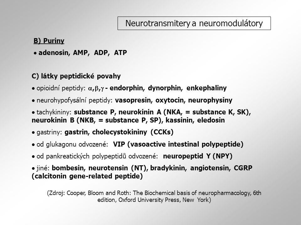 C) látky peptidické povahy  opioidní peptidy: , ,  - endorphin, dynorphin, enkephaliny  neurohypofysální peptidy: vasopresin, oxytocin, neurophysiny  tachykininy: substance P, neurokinin A (NKA, = substance K, SK), neurokinin B (NKB, = substance P, SP), kassinin, eledosin  gastriny: gastrin, cholecystokininy (CCKs)  od glukagonu odvozené: VIP (vasoactive intestinal polypeptide)  od pankreatických polypeptidů odvozené: neuropeptid Y (NPY)  jiné: bombesin, neurotensin (NT), bradykinin, angiotensin, CGRP (calcitonin gene-related peptide) (Zdroj: Cooper, Bloom and Roth: The Biochemical basis of neuropharmacology, 6th edition, Oxford University Press, New York) Neurotransmitery a neuromodulátory B) Puriny  adenosin, AMP, ADP, ATP