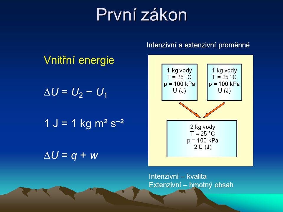 První zákon Vnitřní energie ∆U = U 2 − U 1 1 J = 1 kg m² s – ² ∆U = q + w Intenzivní a extenzivní proměnné Intenzivní – kvalita Extenzivní – hmotný obsah