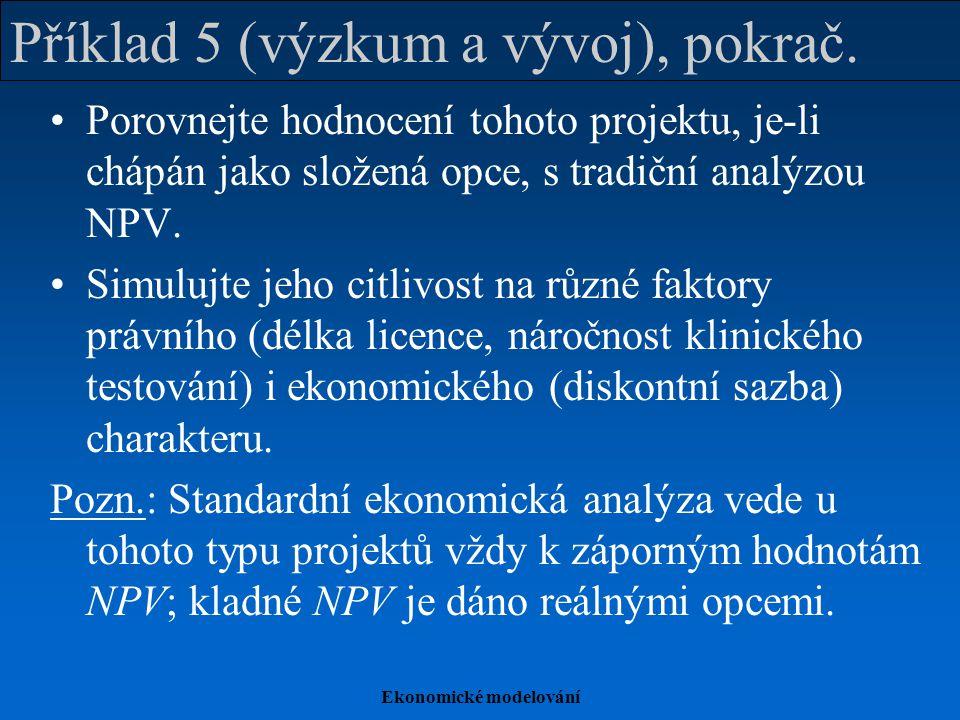 Ekonomické modelování Příklad 5 (výzkum a vývoj), pokrač. Porovnejte hodnocení tohoto projektu, je-li chápán jako složená opce, s tradiční analýzou NP