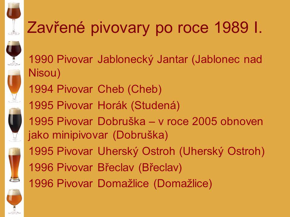 Zavřené pivovary po roce 1989 I. 1990 Pivovar Jablonecký Jantar (Jablonec nad Nisou) 1994 Pivovar Cheb (Cheb) 1995 Pivovar Horák (Studená) 1995 Pivova