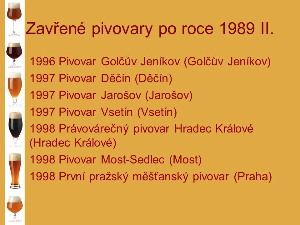 Zavřené pivovary po roce 1989 II. 1996 Pivovar Golčův Jeníkov (Golčův Jeníkov) 1997 Pivovar Děčín (Děčín) 1997 Pivovar Jarošov (Jarošov) 1997 Pivovar