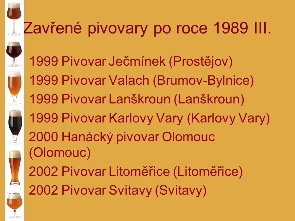 Zavřené pivovary po roce 1989 III. 1999 Pivovar Ječmínek (Prostějov) 1999 Pivovar Valach (Brumov-Bylnice) 1999 Pivovar Lanškroun (Lanškroun) 1999 Pivo