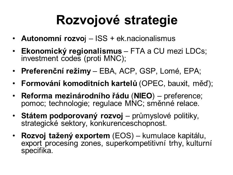 Rozvojové strategie Autonomní rozvoj – ISS + ek.nacionalismus Ekonomický regionalismus – FTA a CU mezi LDCs; investment codes (proti MNC); Preferenční režimy – EBA, ACP, GSP, Lomé, EPA; Formování komoditních kartelů (OPEC, bauxit, měď); Reforma mezinárodního řádu (NIEO) – preference; pomoc; technologie; regulace MNC; směnné relace.