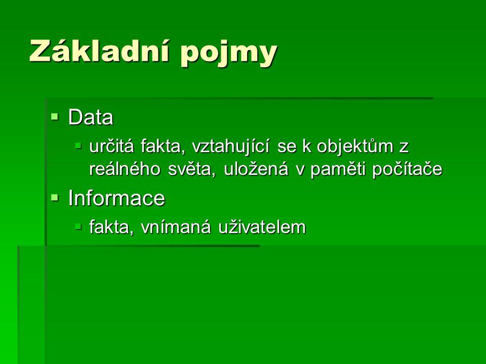 Základní pojmy  Data  určitá fakta, vztahující se k objektům z reálného světa, uložená v paměti počítače  Informace  fakta, vnímaná uživatelem