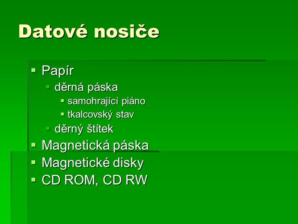 Datové nosiče  Papír  děrná páska  samohrající piáno  tkalcovský stav  děrný štítek  Magnetická páska  Magnetické disky  CD ROM, CD RW
