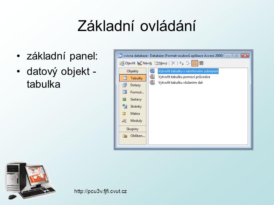 http://pcu3v.fjfi.cvut.cz Základní ovládání základní panel: datový objekt - tabulka