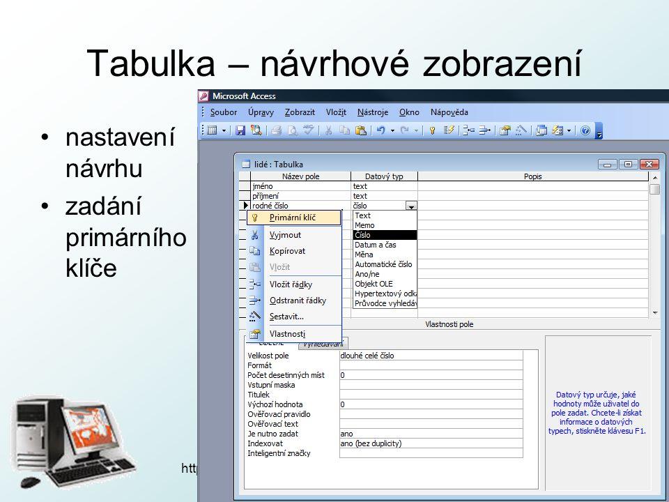 http://pcu3v.fjfi.cvut.cz Tabulka – návrhové zobrazení nastavení návrhu zadání primárního klíče