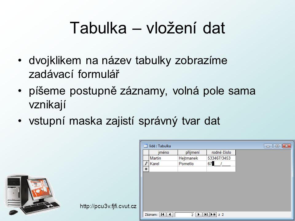 http://pcu3v.fjfi.cvut.cz Tabulka – vložení dat dvojklikem na název tabulky zobrazíme zadávací formulář píšeme postupně záznamy, volná pole sama vznik