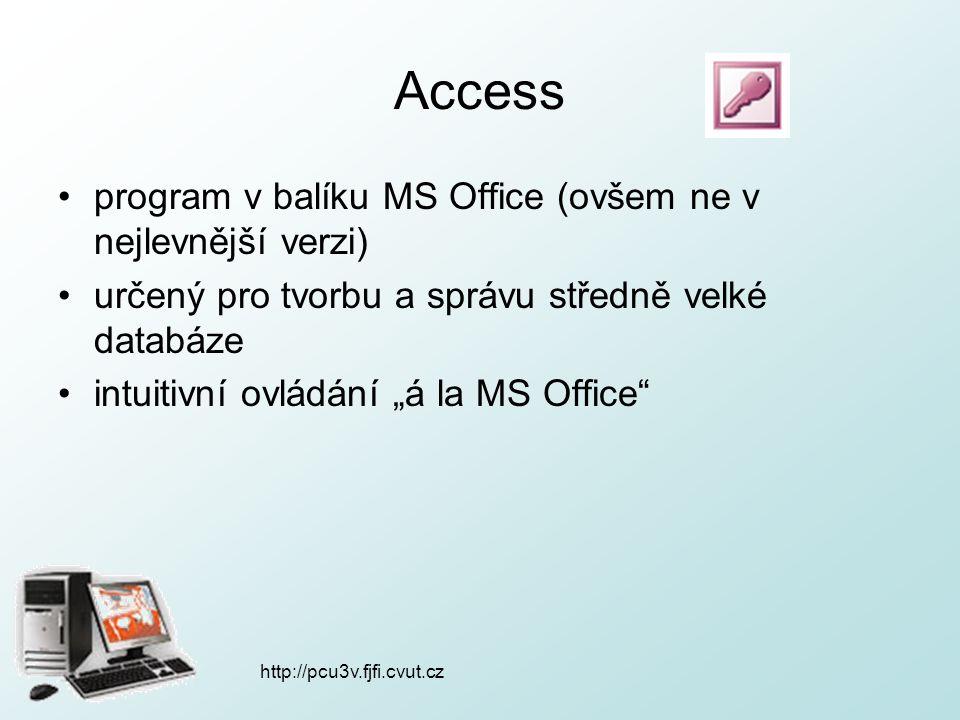 http://pcu3v.fjfi.cvut.cz Access program v balíku MS Office (ovšem ne v nejlevnější verzi) určený pro tvorbu a správu středně velké databáze intuitivn