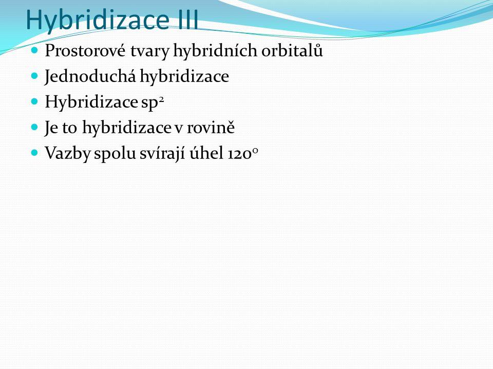 Hybridizace III Prostorové tvary hybridních orbitalů Jednoduchá hybridizace Hybridizace sp 2 Je to hybridizace v rovině Vazby spolu svírají úhel 120 o