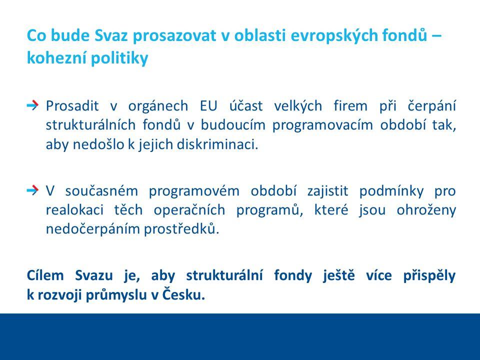 Ing. Martin Kocourek ministr průmyslu a obchodu ZPĚT NA VRCHOL – INSTITUCE, INOVACE A INFRASTRUKTURA Co bude Svaz prosazovat v oblasti evropských fond
