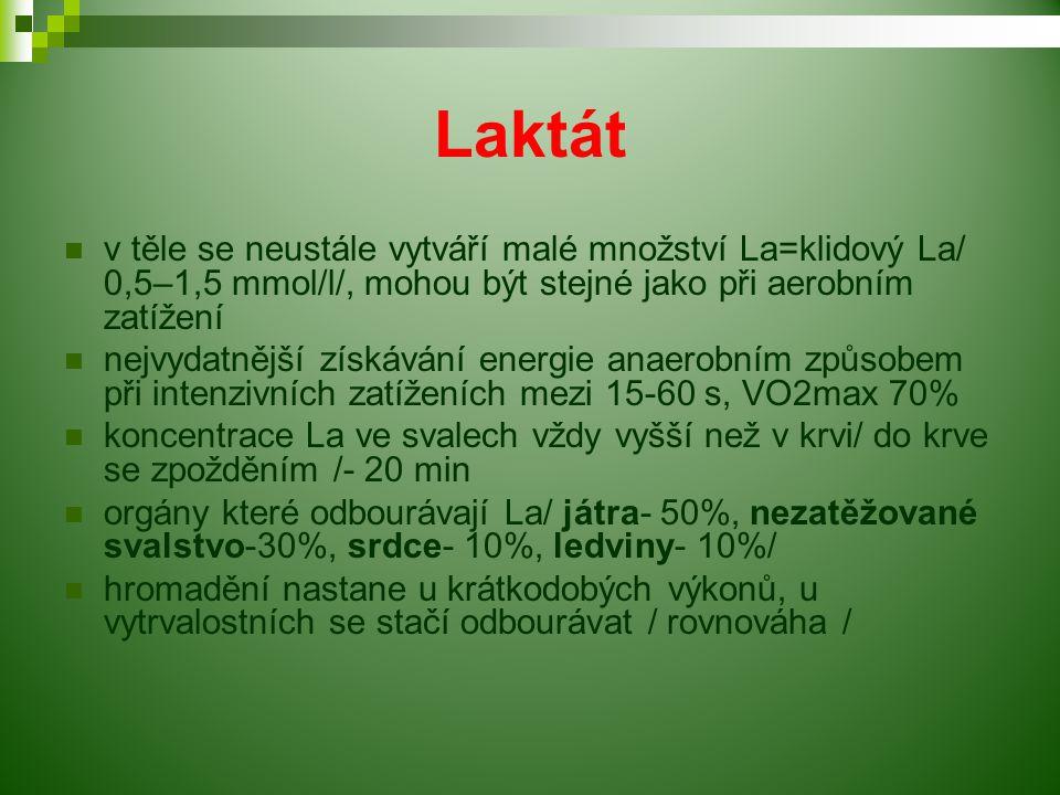 Laktát v těle se neustále vytváří malé množství La=klidový La/ 0,5–1,5 mmol/l/, mohou být stejné jako při aerobním zatížení nejvydatnější získávání energie anaerobním způsobem při intenzivních zatíženích mezi 15-60 s, VO2max 70% koncentrace La ve svalech vždy vyšší než v krvi/ do krve se zpožděním /- 20 min orgány které odbourávají La/ játra- 50%, nezatěžované svalstvo-30%, srdce- 10%, ledviny- 10%/ hromadění nastane u krátkodobých výkonů, u vytrvalostních se stačí odbourávat / rovnováha /