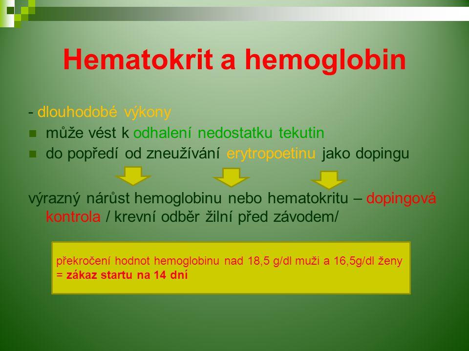 Hematokrit a hemoglobin - dlouhodobé výkony může vést k odhalení nedostatku tekutin do popředí od zneužívání erytropoetinu jako dopingu výrazný nárůst hemoglobinu nebo hematokritu – dopingová kontrola / krevní odběr žilní před závodem/ překročení hodnot hemoglobinu nad 18,5 g/dl muži a 16,5g/dl ženy = zákaz startu na 14 dní