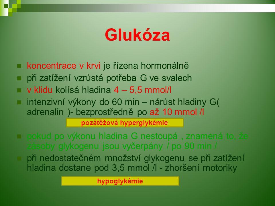 Glukóza koncentrace v krvi je řízena hormonálně při zatížení vzrůstá potřeba G ve svalech v klidu kolísá hladina 4 – 5,5 mmol/l intenzivní výkony do 60 min – nárůst hladiny G( adrenalin )- bezprostředně po až 10 mmol /l pokud po výkonu hladina G nestoupá, znamená to, že zásoby glykogenu jsou vyčerpány / po 90 min / při nedostatečném množství glykogenu se při zatížení hladina dostane pod 3,5 mmol /l - zhoršení motoriky pozátěžová hyperglykémie hypoglykémie