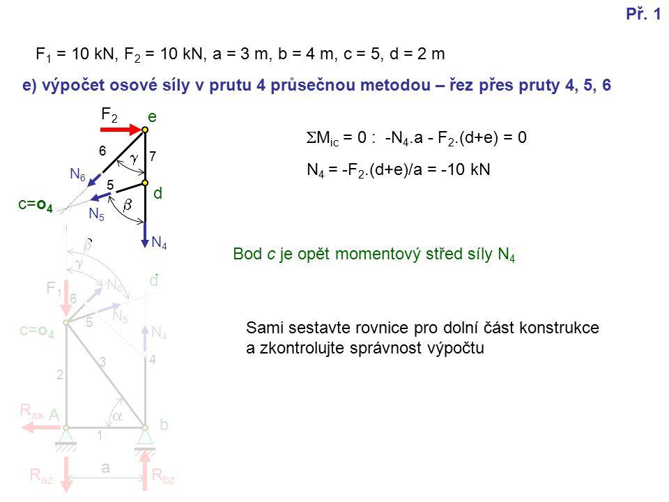 F2F2 a e) výpočet osové síly v prutu 4 průsečnou metodou – řez přes pruty 4, 5, 6   F 1 = 10 kN, F 2 = 10 kN, a = 3 m, b = 4 m, c = 5, d = 2 m  F1F1 A b c=o 4 d e R az R ax R bz 1 2 3 4 5 6 7 Př.