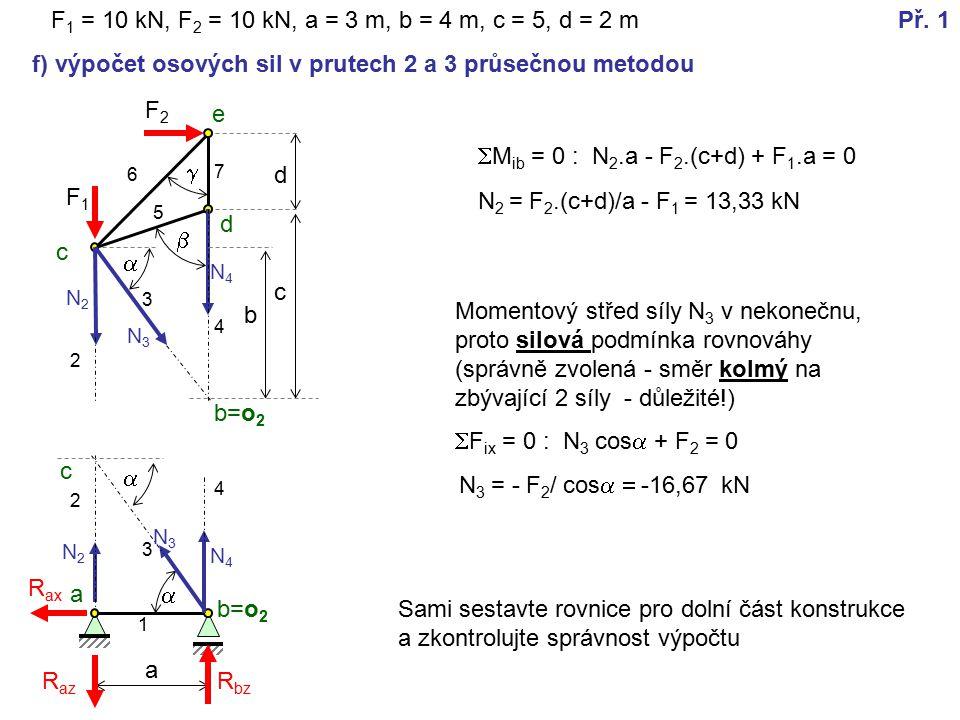 F2F2 a   F 1 = 10 kN, F 2 = 10 kN, a = 3 m, b = 4 m, c = 5, d = 2 m  F1F1 a b=o 2 c d e R az R ax R bz 1 2 3 4 5 6 7 Př.