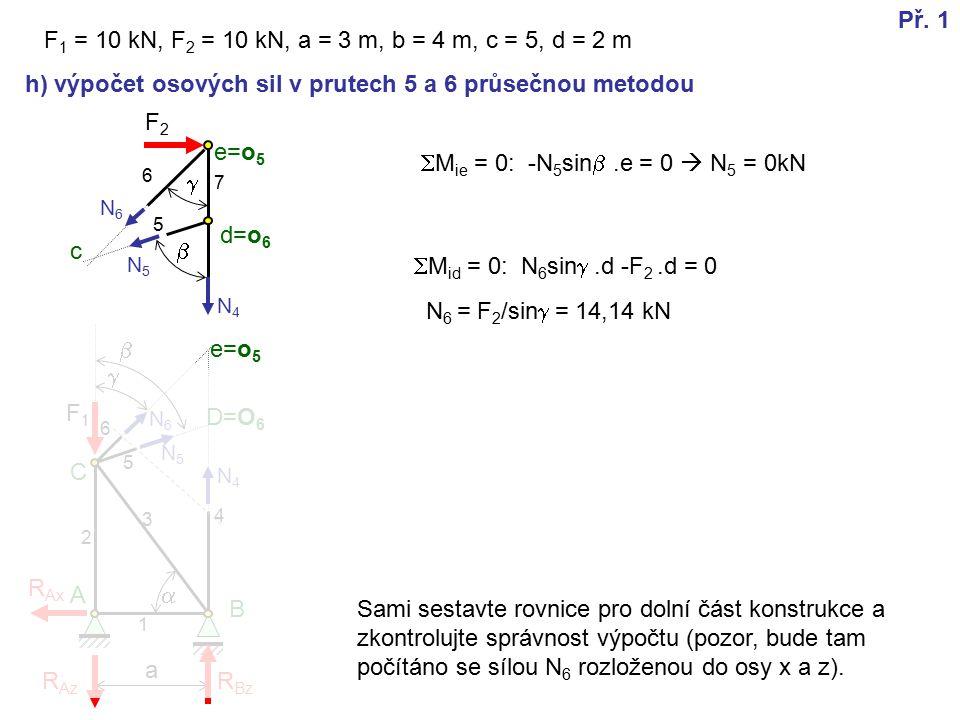e=o 5 F2F2 a h) výpočet osových sil v prutech 5 a 6 průsečnou metodou   F 1 = 10 kN, F 2 = 10 kN, a = 3 m, b = 4 m, c = 5, d = 2 m  F1F1 A B C d=o 6 e=o 5 R Az R Ax R Bz 1 2 3 4 5 6 7 Př.