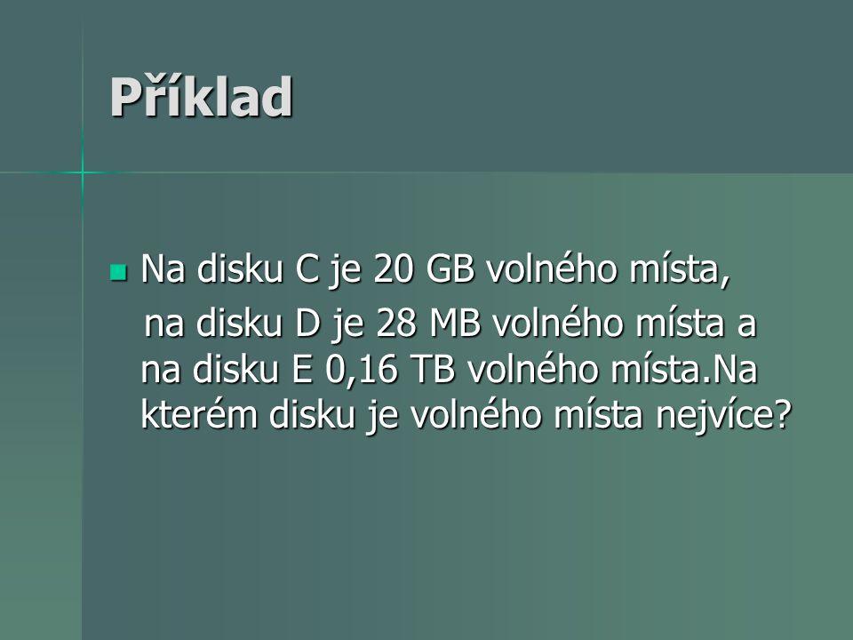 Příklad Na disku C je 20 GB volného místa, Na disku C je 20 GB volného místa, na disku D je 28 MB volného místa a na disku E 0,16 TB volného místa.Na