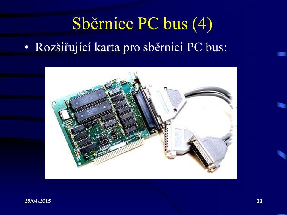 25/04/201521 Sběrnice PC bus (4) Rozšiřující karta pro sběrnici PC bus: