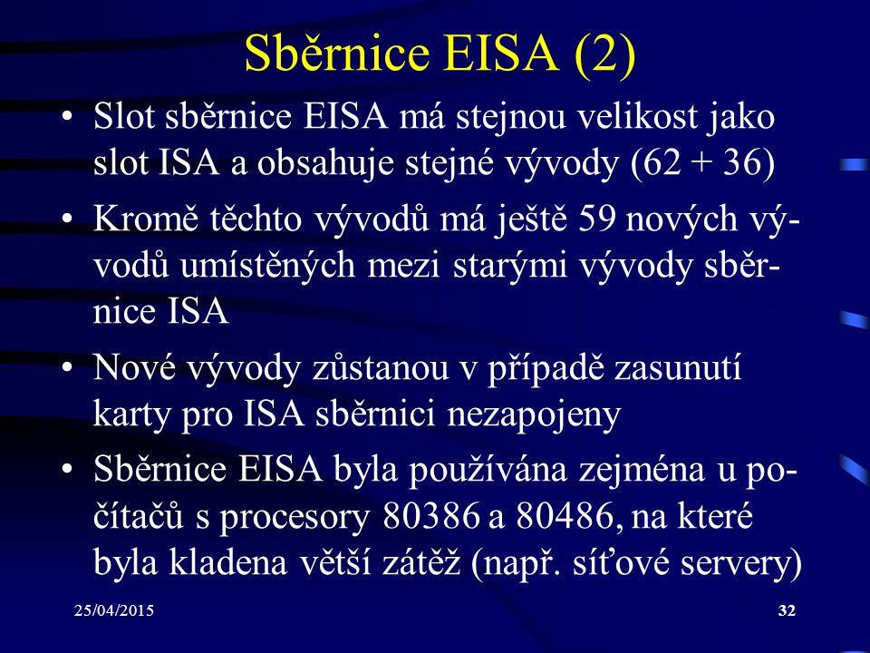 25/04/201532 Sběrnice EISA (2) Slot sběrnice EISA má stejnou velikost jako slot ISA a obsahuje stejné vývody (62 + 36) Kromě těchto vývodů má ještě 59