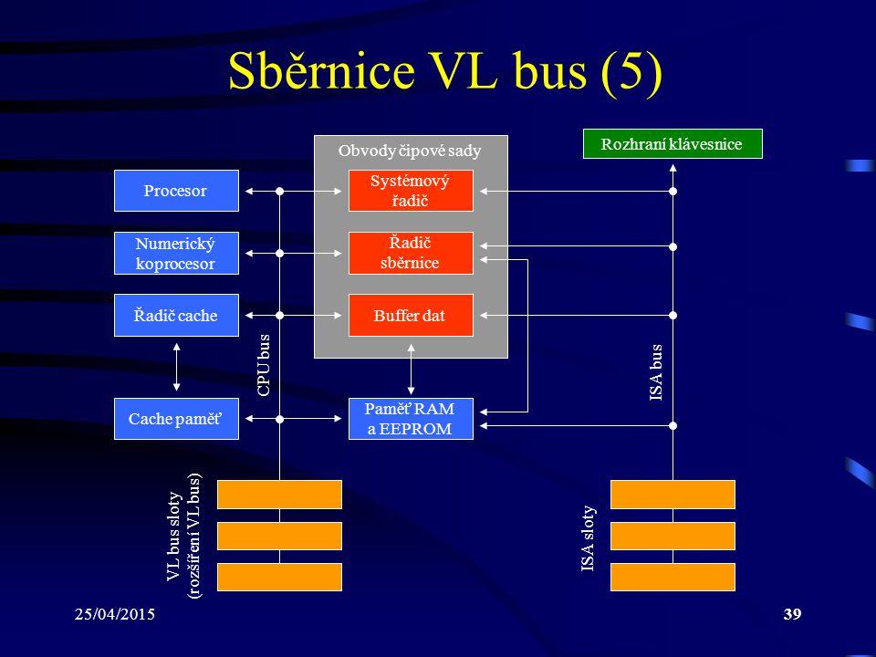 25/04/201539 Sběrnice VL bus (5) Procesor Numerický koprocesor Řadič cache Cache paměť Obvody čipové sady Rozhraní klávesnice CPU bus Systémový řadič