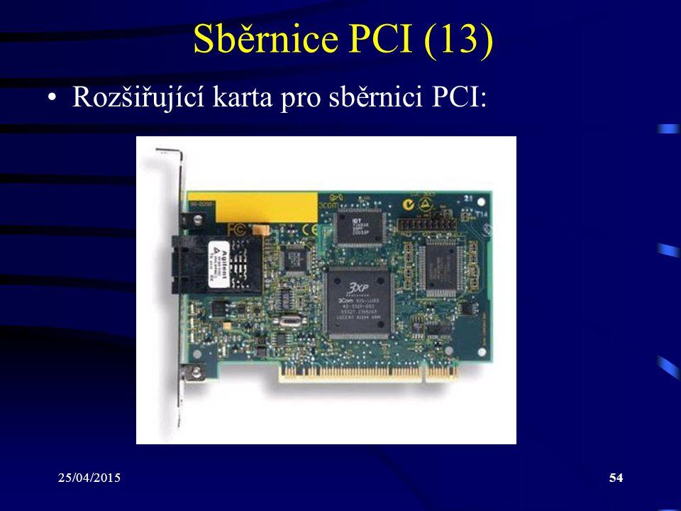 25/04/201554 Sběrnice PCI (13) Rozšiřující karta pro sběrnici PCI: