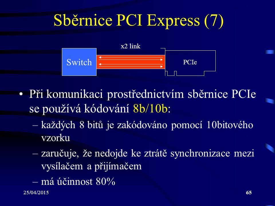 25/04/201565 Sběrnice PCI Express (7) Switch x2 link PCIe Při komunikaci prostřednictvím sběrnice PCIe se používá kódování 8b/10b: –každých 8 bitů je