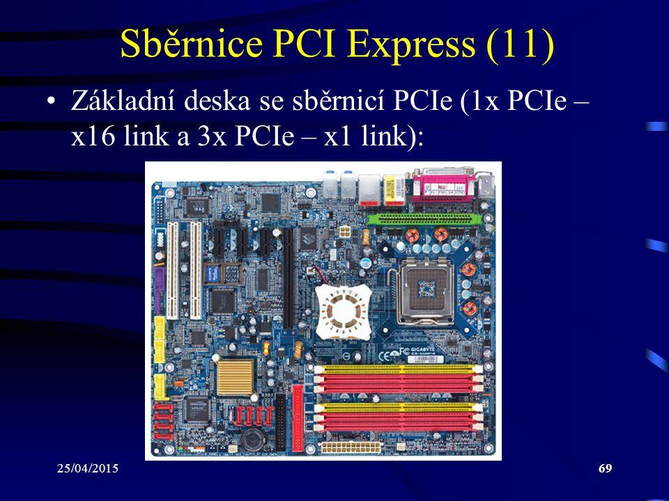 25/04/201569 Sběrnice PCI Express (11) Základní deska se sběrnicí PCIe (1x PCIe – x16 link a 3x PCIe – x1 link):
