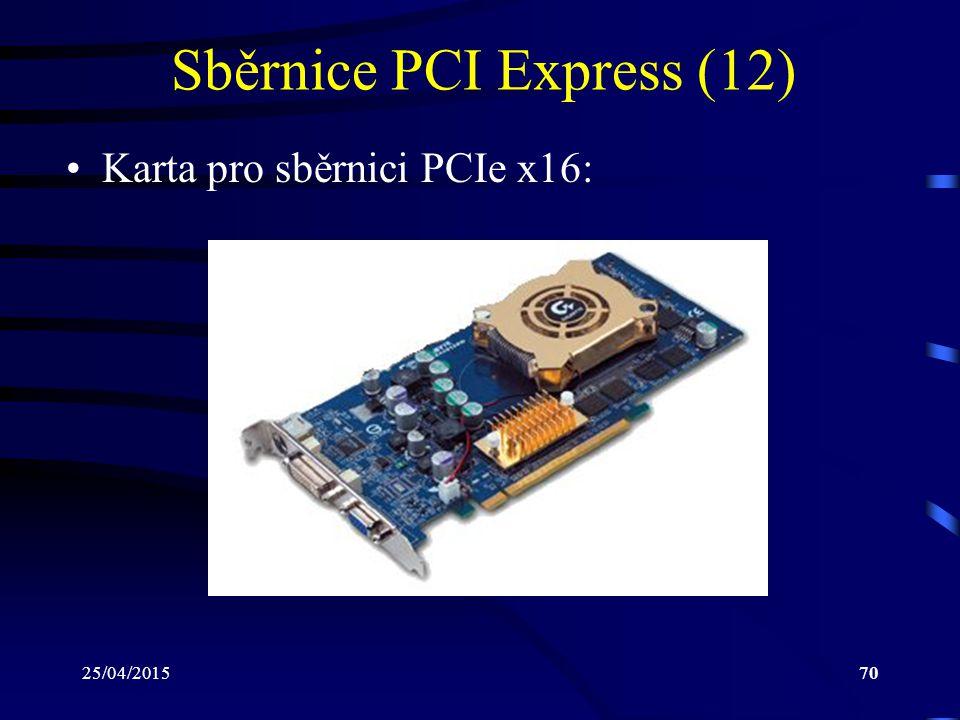25/04/201570 Sběrnice PCI Express (12) Karta pro sběrnici PCIe x16: